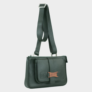 Bags-by-SUMAGEZA-SU-Le-Double-Crossbody-dark green-calf leather, front view-15, turned 30 degrees to the right, shown here as a shoulder bag