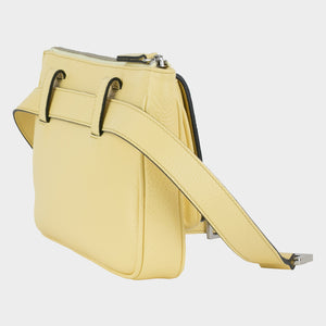 Bags-by-SUMAGEZA-SU-Le-Double-Crossbody-lemon yellow-calf leather, rear view-6 rotated by 45 degrees to the left, very flexible bag in 4 variants to wear