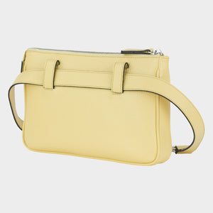 Bags-by-SUMAGEZA-SU-Le-Double-Crossbody-lemon-yellow-calfskin, back view-7, rotated 30 degrees to the left. Bag to wear in several variants.