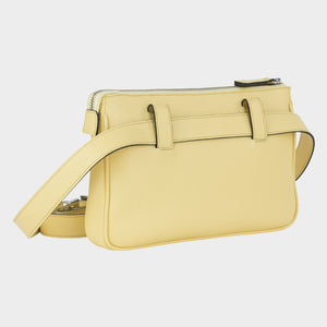 Bags-by-SUMAGEZA-SU-Le-Double-Crossbody-lemon-yellow-calfskin, rear view-9, rotated about 30 degrees to the right, to be worn in 4 variants