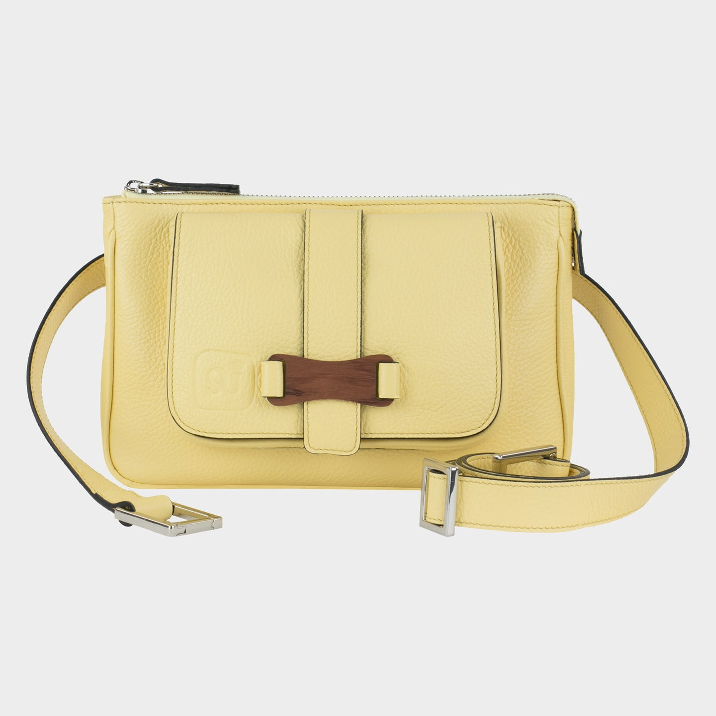 Bags-by-SUMAGEZA-SU-Le-Double-Crossbody-lemon-yellow-calfskin, front view-1, also worn as a belt, shoulder bag or clutch.