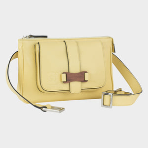 Bags-by-SUMAGEZA-SU-Le-Double-Crossbody-lemon-yellow-calf leather, front view-2, turned about 15 degrees to the right, noble bubinga wood on the front harmonizes with yellow leather