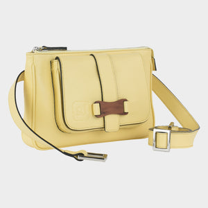 Bags-by-SUMAGEZA-SU-Le-Double-Crossbody-lemon-yellow-calf leather, front view-3, turned about 30 degrees to the right, fine bubinga wood as decoration on the front