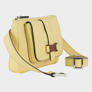 Bags-by-SUMAGEZA-SU-Le-Double-Crossbody-lemon-yellow-calfskin-front view-4, rotated 45 degrees to the right. Bag can be carried in 4 ways