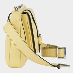 Bags-by-SUMAGEZA-SU-Le-Double-Crossbody-lemon-yellow-calf leather, side view-5, detachable belt transforms the bag into a belt and shoulder bag or clutch