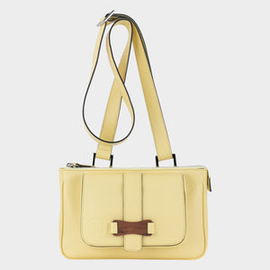 Bags-by-SUMAGEZA-SU-Le-Double-Crossbody lemon yellow leather, front view-14. Here shown as a shoulder bag
