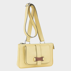 Bags-by-SUMAGEZA-SU-Le-Double-Crossbody-lemon yellow-calf leather, front view-15, bag turned about 30 degrees to the right, shown here as a shoulder bag.