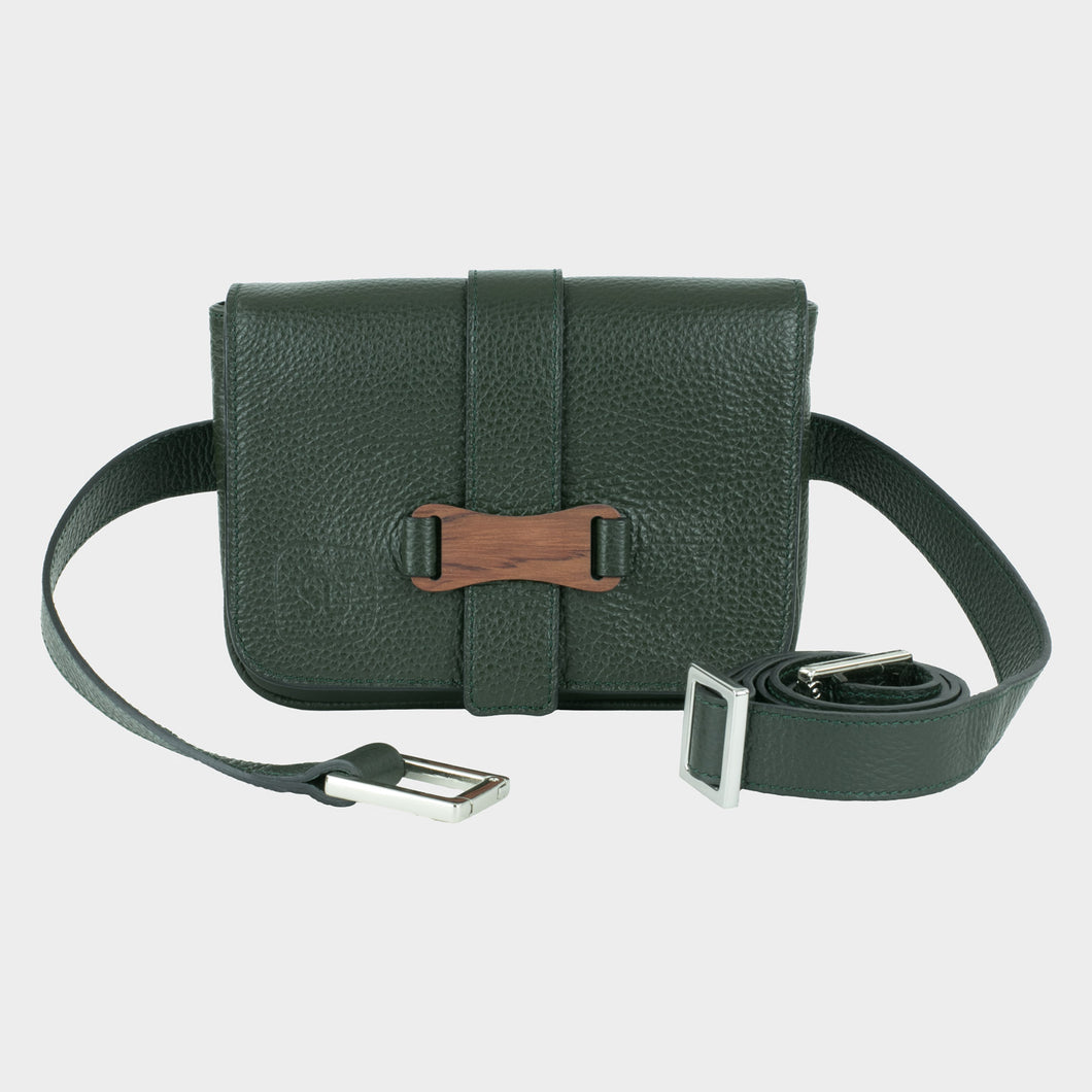 Bags-by-SUMAGEZA-SU-Le-Single-Crossbody - dark green calfskin, front view-1, to be worn as a belt, shoulder bag or handbag, bubinga wood decorative element