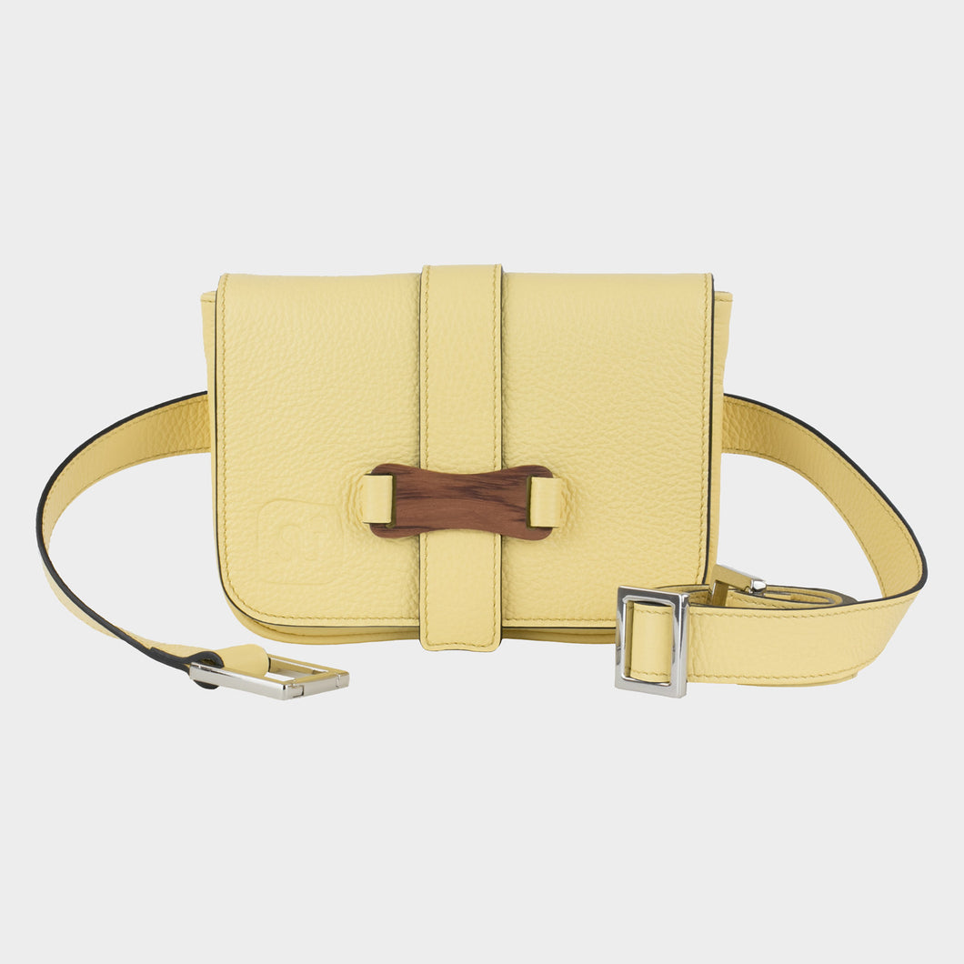 Bags-by-SUMAGEZA-SU-Le-Single - Crossbody-lemon-yellow-calf leather, front view-1, noble Bubinga wood decor contrasts yellow leather