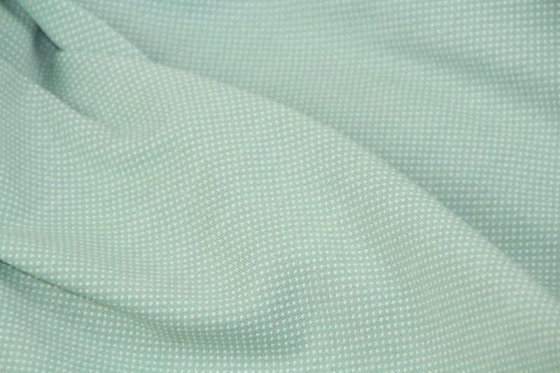 Dots- Minty Green - Cotton Jacquard Interlock