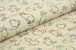 End of Roll - 420cm - Cats - Cotton Linen Mix
