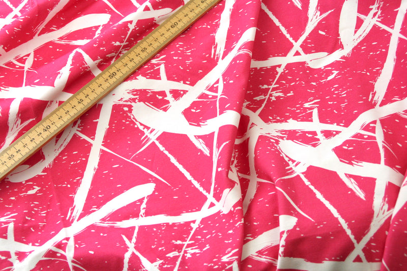 Squiggle Bright Pink - Organic Cotton Sweatshirting