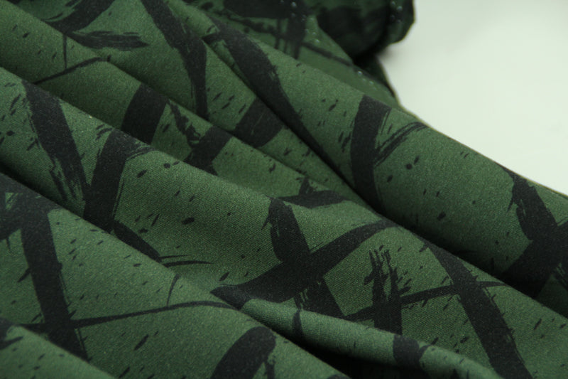 End of Roll - 60 cm - Squiggle Forest Green - Organic Cotton Sweatshirting