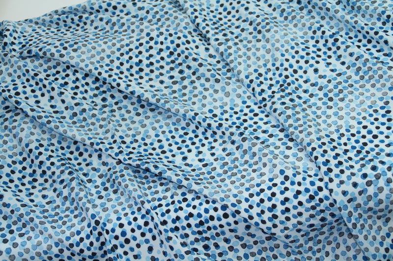 End of Roll - Various Sizes- Dotty stripes - Blue - Viscose
