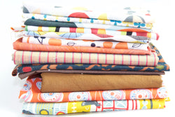 Fat Quarter Bundle - Quilting Cotton - Orange and Brown