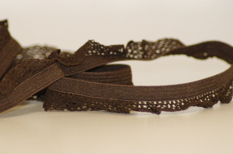 Ruffle Edge Elastic - Brown - 14 mm