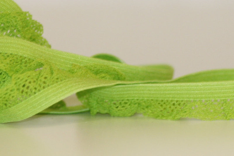 Ruffle Edge Elastic - Lime - 14 mm