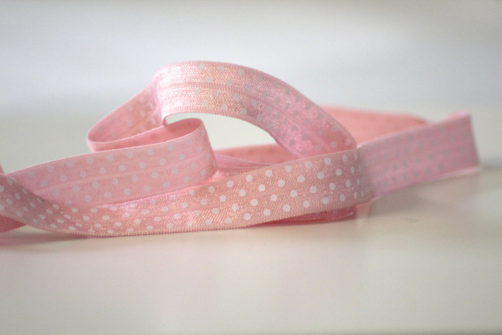 Fold Over Elastic 16mm - Spot - Rose
