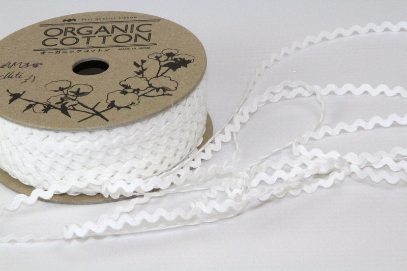 Ric Rac mini - Organic Cotton - White 3 mm