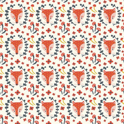 Folkland Collection - Foxy in cream- Organic Cotton Poplin