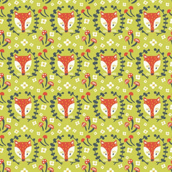 End of Roll - 300 cm - Folkland Collection - Foxy in Grass- Organic Cotton Poplin