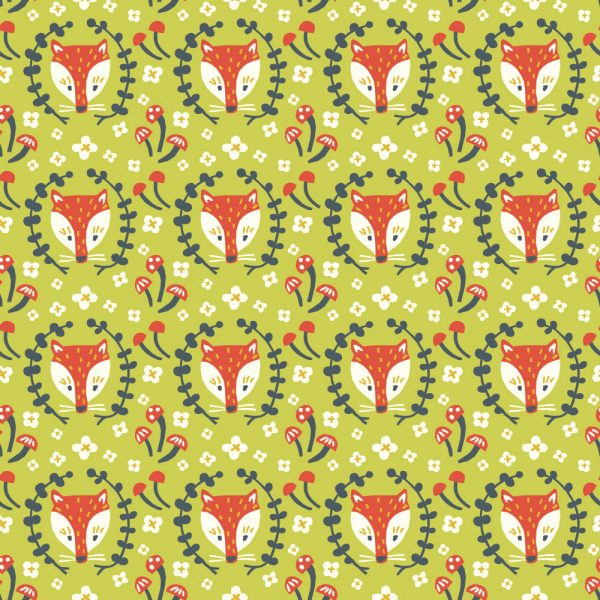 Folkland Collection - Foxy in Grass- Organic Cotton Poplin