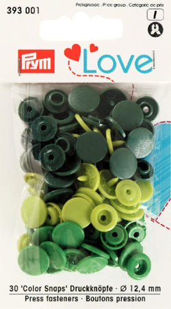 Prym Assorted Greens - Non Sew Colour Snaps - 12.4 mm - 30 Pieces