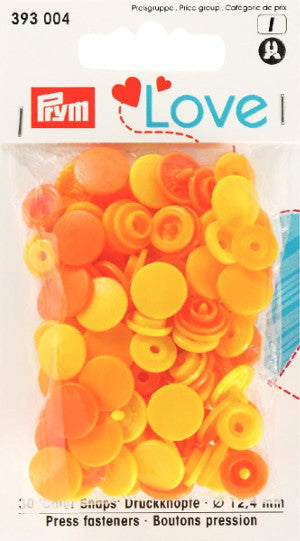 Prym Assorted Yellows - Non Sew Colour Snaps - 12.4 mm - 30 Pieces