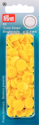 Prym Light Yellow - Non Sew Colour Snaps - 12.4 mm - 30 Pieces