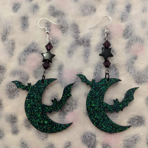 Bat Moon Earrings - Happy Emo
