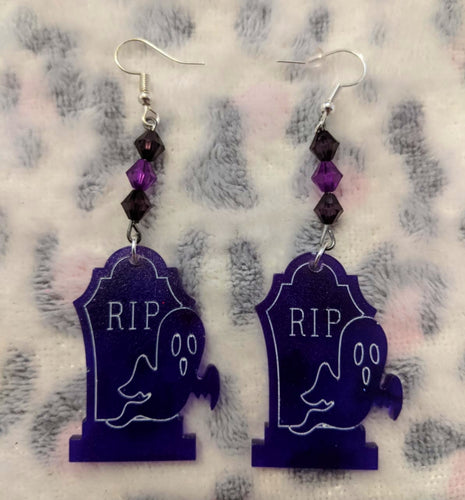 Ghost Gravestone Purple Earrings - Happy Emo