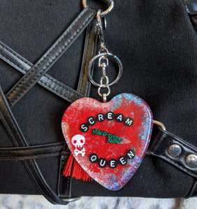 Scream Queen Holographic Keyring / Bag Charm - Happy Emo