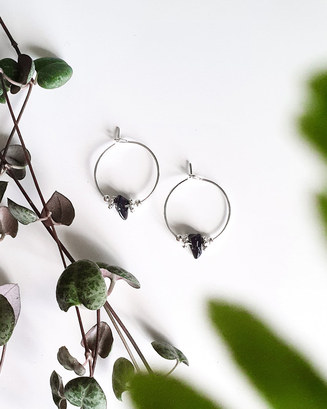Black Onyx Chip Mini Hoops