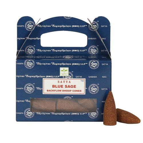 Blue Sage Backflow Dhoop Cones by Satya - Happy Emo