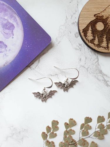 Silver Bat Charm Earrings - Happy Emo