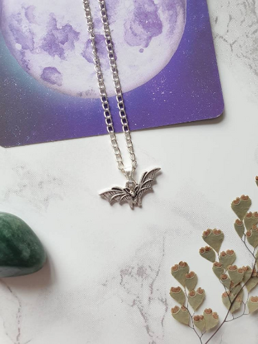 Silver Bat Charm Necklace - Happy Emo