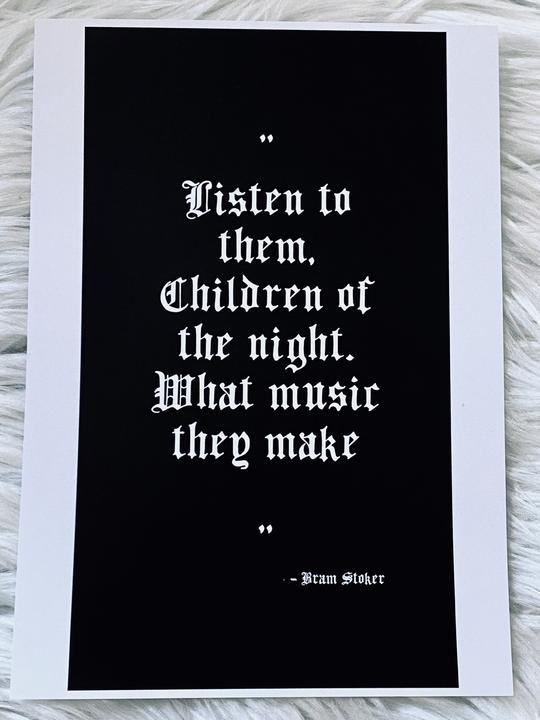 Bram Stoker A5 Quote Print - Happy Emo