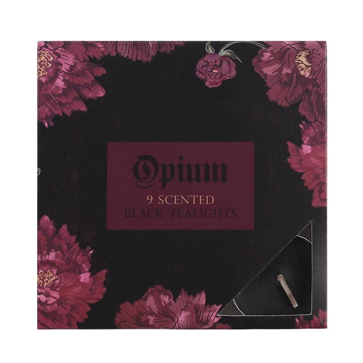 Pack of 9 Opium Scented Black Tealights - Happy Emo