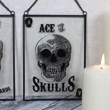 Load image into Gallery viewer, Glass Ace Of Skulls Hanging Sign - Happy Emo