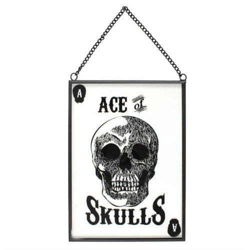 Glass Ace Of Skulls Hanging Sign - Happy Emo