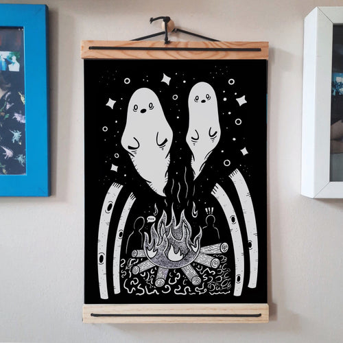 Ghost stories Campfire A4 Art Print - Happy Emo