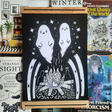 Load image into Gallery viewer, Ghost stories Campfire A4 Art Print - Happy Emo