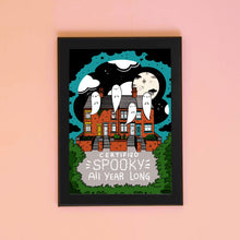 Load image into Gallery viewer, Certified Spooky All Year Long Cute Haunted House A4 Art Print - Happy Emo