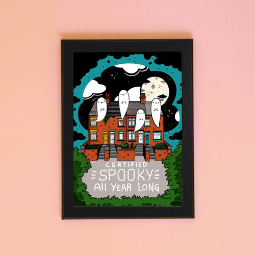 Certified Spooky All Year Long Cute Haunted House A4 Art Print - Happy Emo