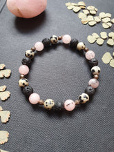 Load image into Gallery viewer, Cherry Jasper, Dalmatian Jasper and Lava Bead Gemstone Stretch Bracelet