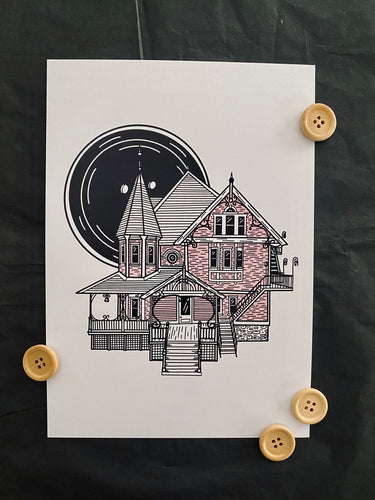 Coraline - Pink Palace - Button Print - Happy Emo