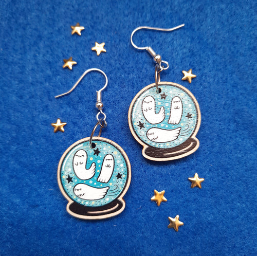 Cute Ghost Mystic Crystal Ball Wooden Earrings - Happy Emo