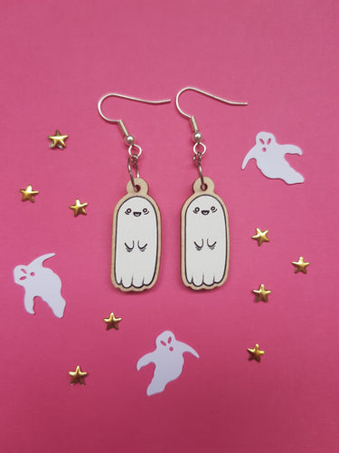 Wooden Charm Ghost Dangle Earrings - Happy Emo