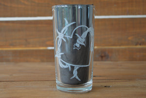 Barbed Wire Heart Glass (Hand Engraved) - Happy Emo