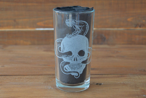 Skull Snake Glass (Hand Engraved) - Happy Emo